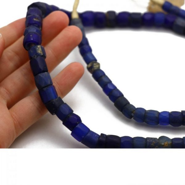 Russian Blue Trade Beads - Glass Beads strand 3 to scale cropped view