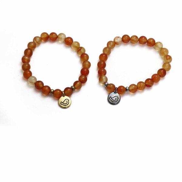 Carnelian stone stretch bracelet
