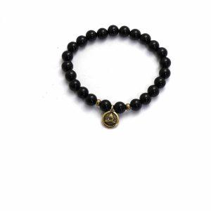 onyx stone stretch bracelet